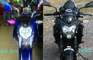 Perbandingan-Headlamp-New-Yamaha-Vixion-2015-dan-Kawasaki-Z250SL